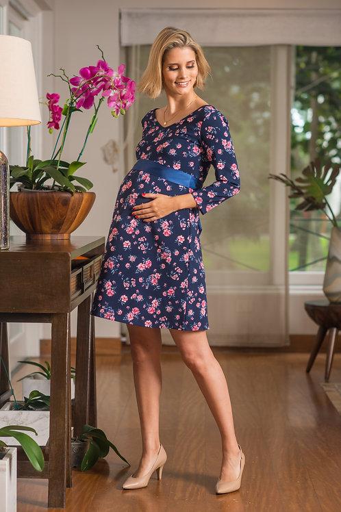 Vestido Venecia Jackard Azul flores