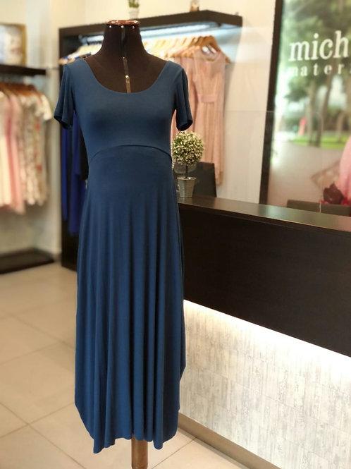 Vestido Algodón Casual Azul