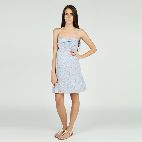 Vestido Manu Celeste Flores