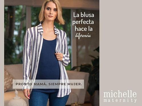 Blusa Camisera listada blanca /azul