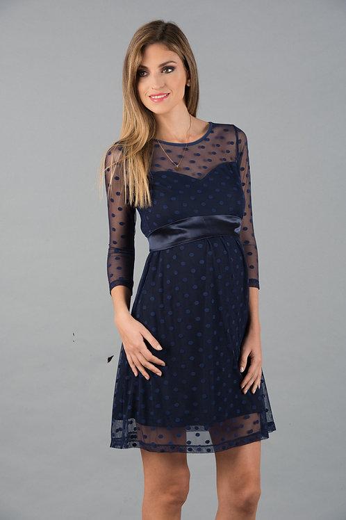 Vestido Encaje Corazon Tul Lunares azul