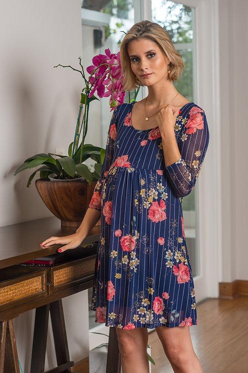Vestido Tul Venecia Azul Flores
