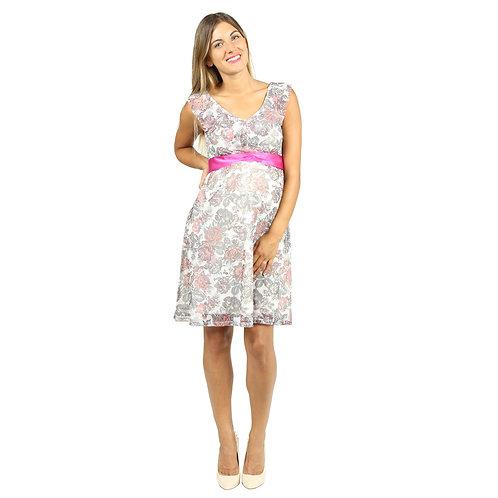 Vestido Encaje Carmen Blanco Flores
