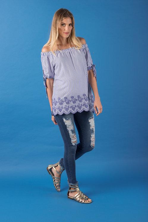Blusa Elástico Hombro Azul Rayas