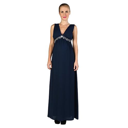 Vestido Elegant Gasa Largo Azul