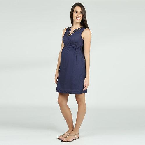 Vestido Nanzú Tachas Azul