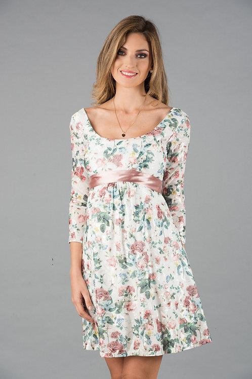 Vestido Encaje Venecia Tul Blanco Flores