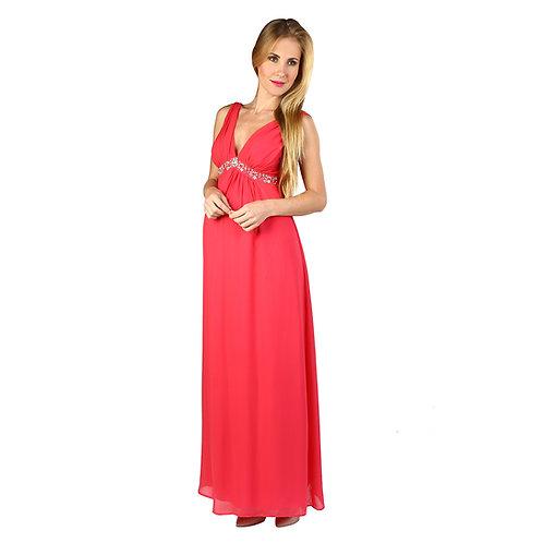 Vestido Elegant Gasa Largo Coral