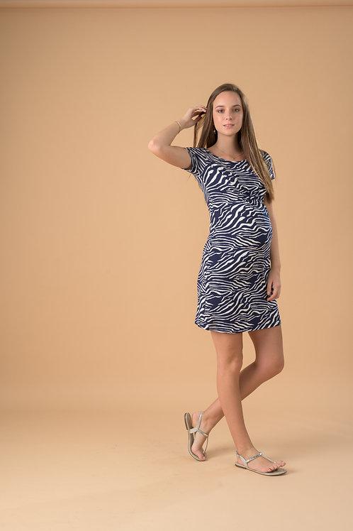 Vestido Imperio - Azul Zebra.