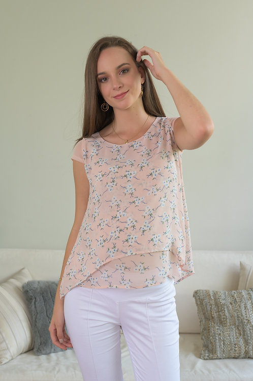 Blusa Capas Gasa - Rosa Flores