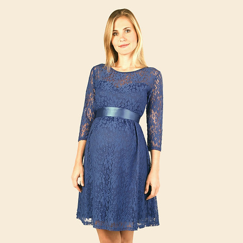 Vestido Encaje Corazón Azul Acero