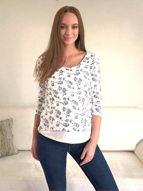 Polo Capas Lactancia - Blanco flores
