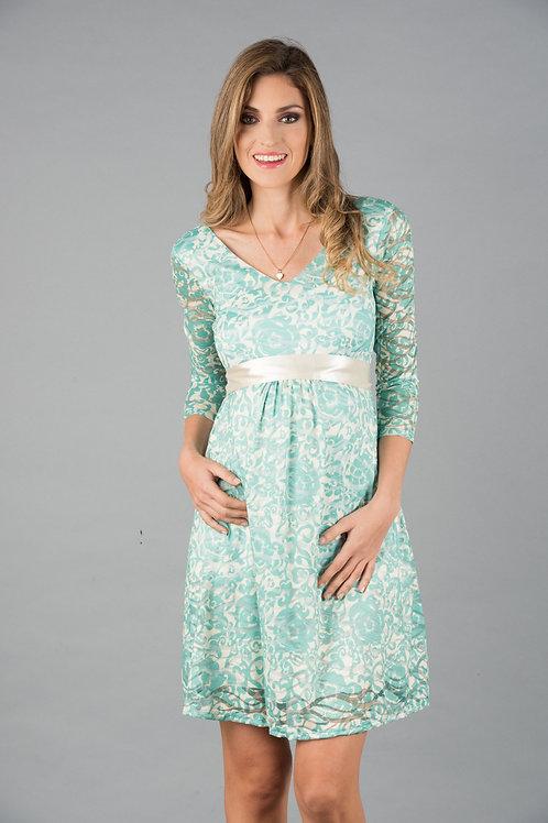 Vestido Encaje 3/4 verde blanco