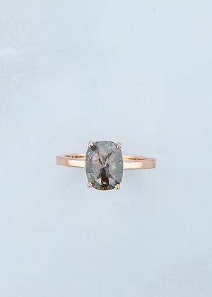The Vega Ring | 1.74ct Cushion Black/Brown Diamond | Rose Gold