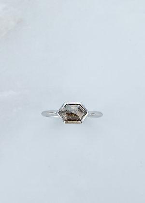 The Leda Ring | 1.20ct Hexagon Black/Brown Diamond | White Gold