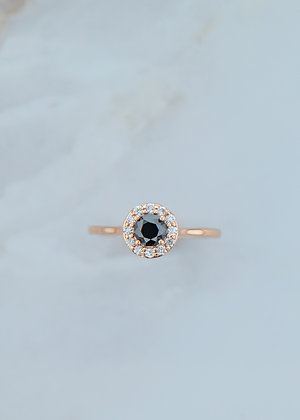 The Ophelia Ring   .53ct Natural Black Round Diamond   Rose Gold