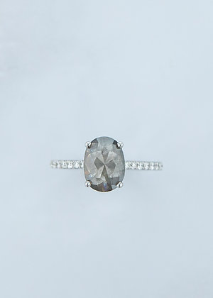 The Aurora Ring | 1.52ct Oval Dark Grey Diamond | White Gold