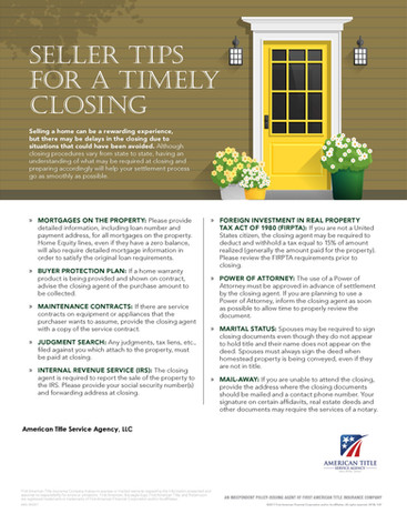 Tips for a Timely Closing - Seller - PT