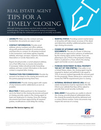 Tips for a Timely Closing - Real Estate