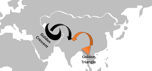 What is Golden Crescent And Golden Triangle, How it Has Been A Threat To India's Internal Security