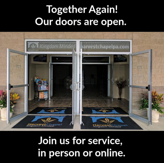 We areOPEN!  Join us for church this weekend!  9:15 & 11:30 am