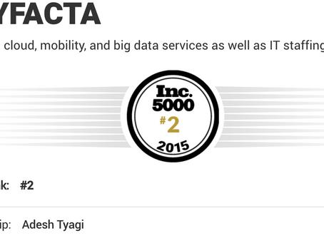 Tryfacta ranked at Top spot among Companies on Inc. 5000