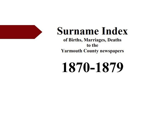 Index of vital statistics to the Yarmouth County newspapers 1870-1879