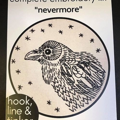 Complete Embroidery Kit - Crow pattern