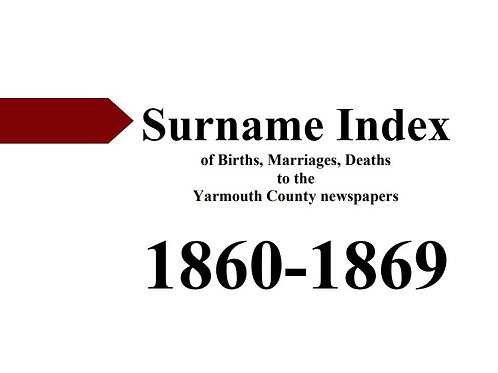 Index of vital statistics to the Yarmouth County newspapers 1860-1869