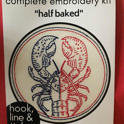Complete Embroidery Kit -Lobster pattern