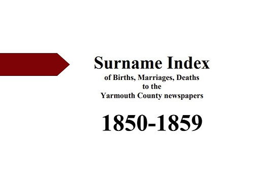 Index of vital statistics to the Yarmouth County newspapers 1850-1859