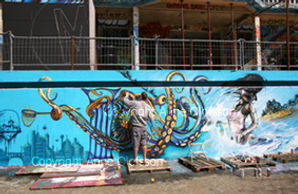 Piscine Molitor. Artiste Shaka et le poulpe. Photo Anne Olofsson 2010