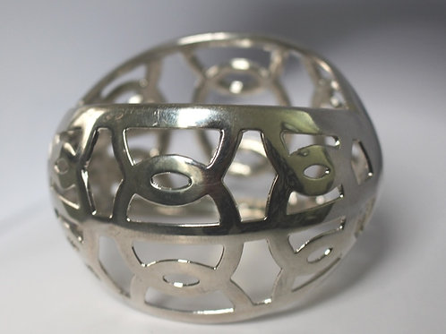 Round Silver Cut Out Bracelet