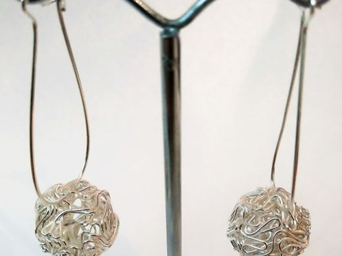 Silver Mesh Ball Earring