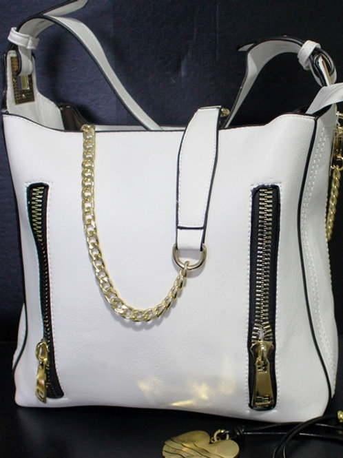 White Zipper Purse