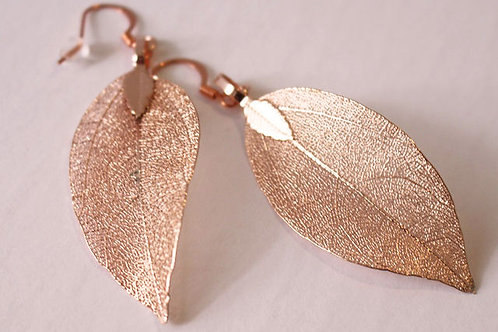 Pink Gold Leaf Earrings