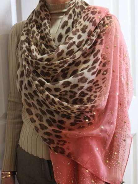 Leopard Coral Scarf