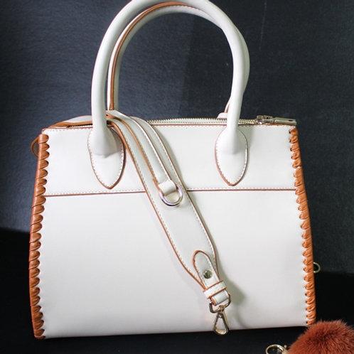 White/Beige Stitch Purse
