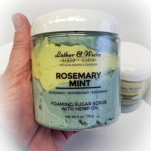 Rosemary Mint Whipped Foaming Sugar Scrub with Hemp Oil
