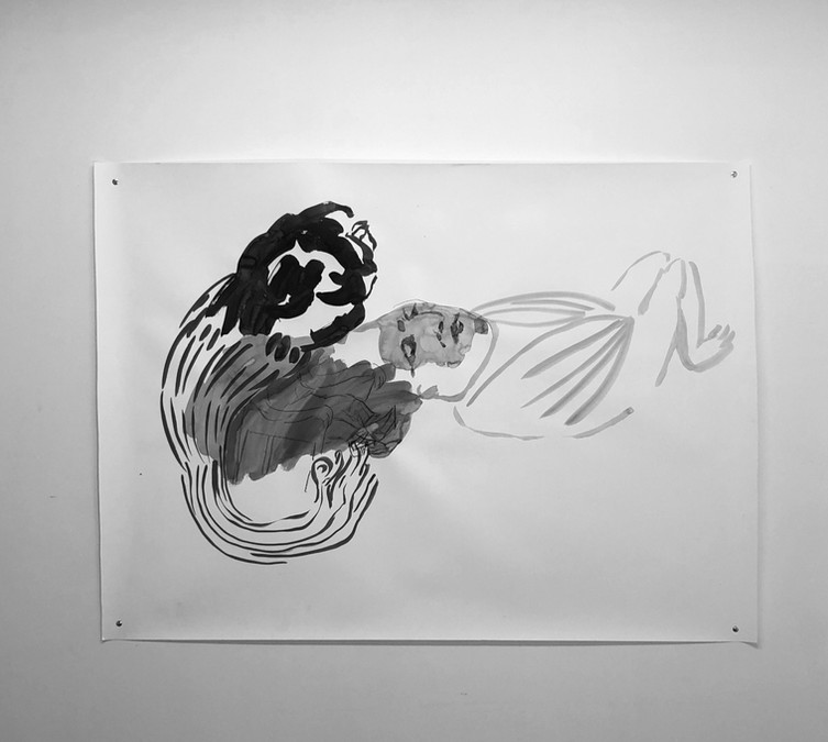 'Exhale', 480mmx8900mm, ink and charcoal on fabriano paper