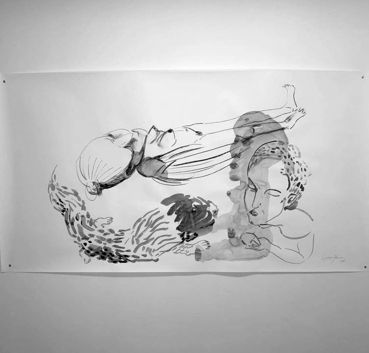 'Exhale II', 600mmx1200mm, ink, pencil and charcoal on fabriano paper