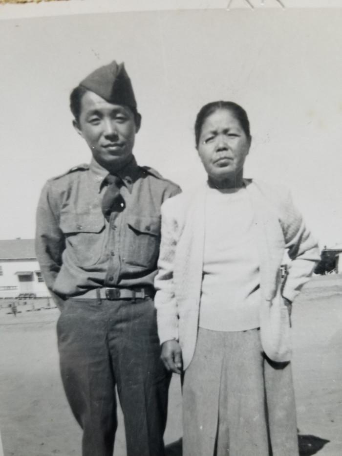 Sam and mother, Mumeno (ca. 1930)