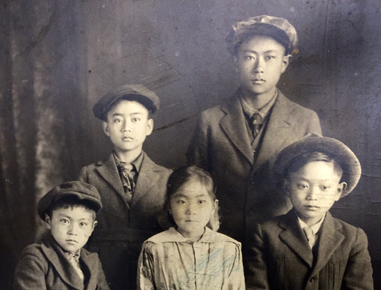 Front (L-R): Tom, Mildred, George Back (L-R): Mikio, Harry (ca. 1917)