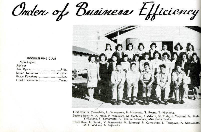 Jane (Yukiko) - Gila Internment Camp, Canal High School Business Efficiency Club (ca. 1945)