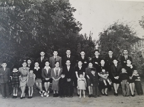 Itaya Family (ca. 1938) Front Row (L to R): Yoshio, Mollie, Toyo, Gladys, Pat, Shizuko, Tsune, Roland, Yasutaro, Florence, Joan, Miyoko, Bobby, Pauline, Barbara, Florence, Al, Mildred, and Roland.  Back Row (L to R): Ray, Tomio Hamamoto, Sam, Harry, George, Mikio, Tom, Takuzo Hamamoto.