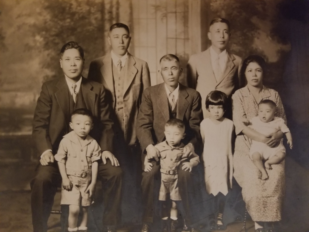 Front Row (L-R): Sam (Isamu), Noboru (James),  Yukiko (Jane), Eiko  2nd Row (L-R): Masao Abe, Kyouhei Adachi, Mumeno Back Row (L-R): Kumamoto, Hiroyoshi (ca. 1930)