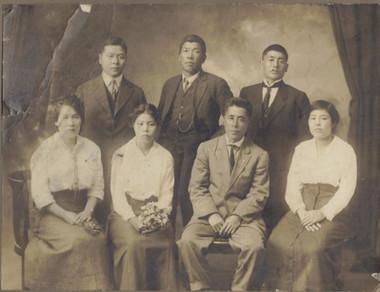 Hiroyoshi and Mumeno Adachi (wedding photo, Vancouver, Canada, ca. 1918)