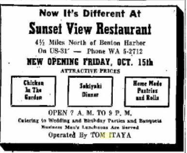 Benton Harbor Michigan News Palladium newspaper ad for Tom Itaya's Sunset View Restaurant (ca. 1954)