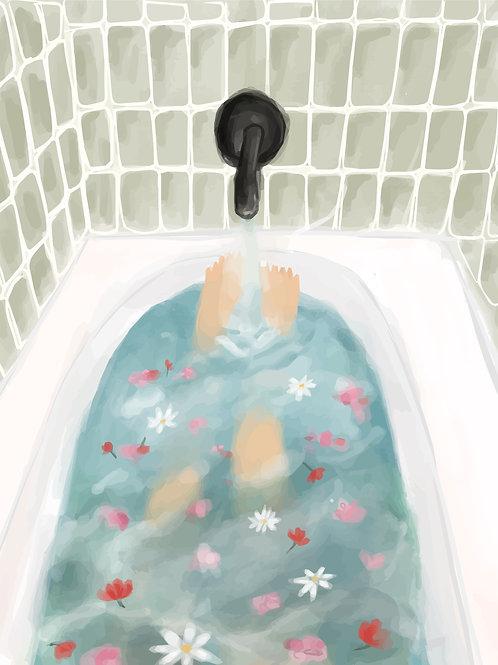tub of petals