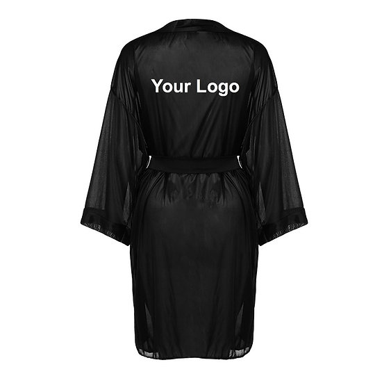 Black Satin Logo Bathrobe